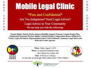 Mobile Legal Clinic flyer for August 9, 2019 session