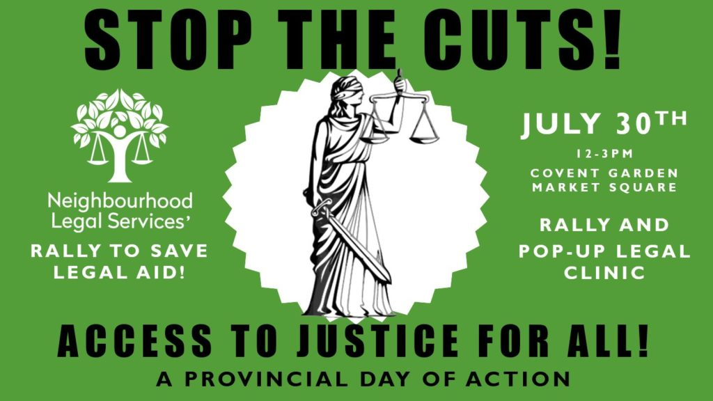 """Stop the Cuts - Day of Action"" Mobile legal clinic flyer"